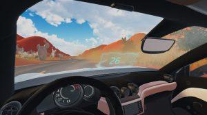 Auf dem Bild sieht man aus dem Inneren eins Sportwagens auf eine Wüstenlandschaft.