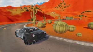 Auf dem Bild sieht man eine Wüstenlandschaft, welche mit Kakteen und Dünen gespickt ist. Ein Sportauto fährt auf einer Straße.