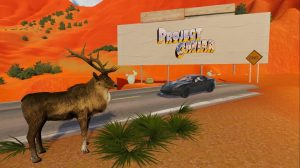 Auf dem Bild ist eine Wüstenlandschaft mit dem Ende einer Straße zu sehen. Im Vordergrund befindet sich ein WIldtier, auf der Straße ein Sportwagen und im Hintergrund eine Anzeigetafel.