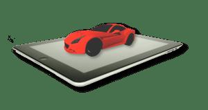 Auf dem Bild sieht man ein Tablet, welches ein Auto mit Hilfe von Augmented Realtiy projeziert.